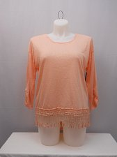 Buy Womens Knit Top Size XXL NO BOUNDARIES Peach Crochet Lace Pullover 3/4 Sleeves