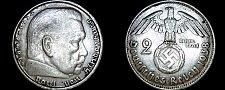 Buy 1938-B German 2 Reichsmark World Silver Coin - Germany 3rd Reich