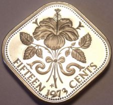 Buy Rare Proof Bahamas 1973 15 Cents~Triangle Coin~Hibiscus~35,000 Minted~Free Ship