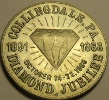 Buy Gem Unc 38.5mm Collingdale Pennsylvania Diamond Jubilee Medallion~1966~Free Ship