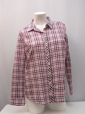 Buy Womens Button Down Shirt Size L FADED GLORY Plaid Long Sleeves Collar Neck