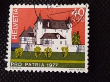 Buy Switzerland 1V USED STAMP 1977 Mi1097 Pratteln basel Canton Castles