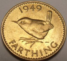 Buy Rare Unc Great Britain 1949 Farthing~Wren~Excellent~Free Shipping