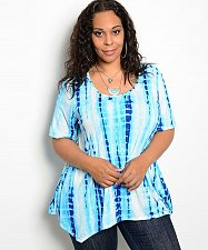 Buy PLUS SIZE 1XL 2XL Women Top Geometric Scoop Neck Short Sleeves Asymmetrical Hem