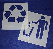 Buy Recycle-Trash Stencils- 2 Pc Set- 14 mil Mylar Painting/Crafts/Stencil/Template