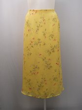 Buy Womens Skirt SIZE 26/28 LANE BRYANT Yellow Floral Calf Length Lined Walk Slits