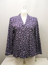 Buy SIZE L Women Sleep Shirt ALFANI Button Front Purple Floral Long Sleeves Collared