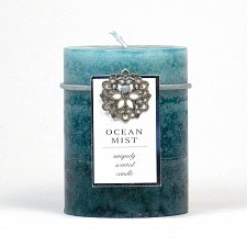 Buy :10666U - Ocean Mist Scented Blue Tri-color Paraffin Wax 3X4 Pillar Candle
