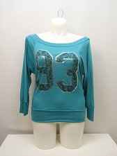 Buy SIZE XL Women Knit Top Solid Teal Foil Print 93 Off Shoulders Neck ¾ Sleeves
