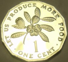 Buy Rare Proof Jamaica 1980 F.A.O. Cent~Only 2,688 Minted~12 Sided~Ackee Fruit~Fr/Sh