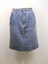 Buy PLUS SIZE 22W Womens Denim Skirt STEFANO Medium Wash Above Knee Button Zipper