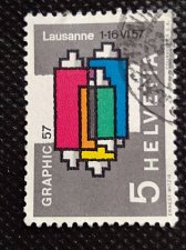 Buy Switzerland 1V USED STAMP 1957 Mi637 Inking unit of a printing press Graphic Fa