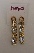 Buy Women Fashion Drop Dangle Earrings Gold Tones Rhinestones BEYA Plastic Push Back