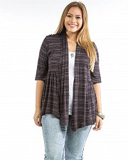 Buy PLUS SIZE 1XL 2XL Womens Wrap Cardigan ABAN Brown Striped Lace Back 3/4 Sleeves