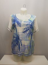 Buy PLUS SIZE 1X 3X Womens Knit Top KAREN SCOTT Embellished Tropical Short Sleeves