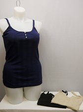Buy Womens Tank Top 3PKG SIZE XL Solid Navy Beige Black Lace Trim Pull