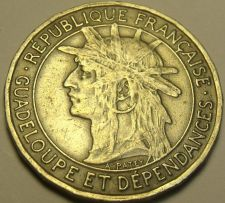 Buy Rare Guadeloupe 1921 Franc~600,000 Minted~SugarCane~Last Year Ever~Free Shipping