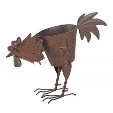 Buy *17251U - Rooster Planter Solid Tail Feather Weathered Brown Iron Pot