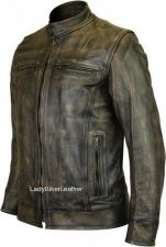 Buy Mens Biker DISTRESSED BROWN Premium Leather SCOOTER Jacket EURO Collar GUN PKTS