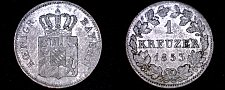 Buy 1853 German States Bavaria 1 Kreuzer World Silver Coin