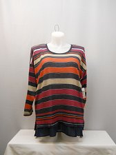 Buy PLUS SIZE 2X Knit Top JESSICA SIMPSON Multi Color Striped Scoop Neck Long Sleeve