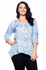 Buy PLUS SIZE 1XL 2XL 3XL 4XL Womens Tunic Top HOT GINGER ¾ Sleeves Blue Chevron