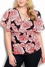 Buy PLUS SIZE 1XL Womens Sheer Peplum Top VIVA YOU Red Floral Flutter Sleeves Wrap