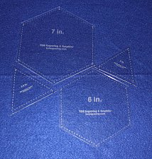"""Buy Quilt Templates-4 Piece Set- Hexagons 6"""" & 7"""" & Equilateral Triangles 1/8"""""""
