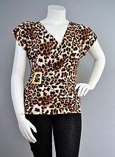 Buy Womens Top SIZE 1XL 2XL 3XL LOVE CRAZY Animal Print Cap Sleeves Buckle Surplice