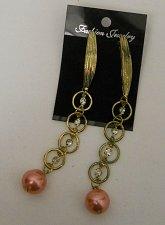 Buy Womens Fashion Earrings Drop Dangle Gold Pink Tones Rhinestones FASHION JEWELRY
