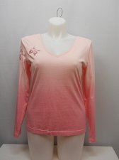 Buy SIZE XL Women Knit Top TOGETHER Pink Ombre Print Butterfly Cutouts Long Sleeves