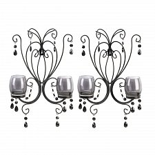 Buy *15106U - Midnight Elegance Smoked Glass Black Bead Wall Sconce Candle Holders