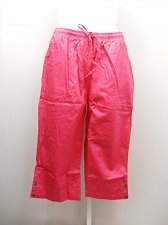 Buy PLUS SIZE 26W Women Cotton Capris Solid Pink Pockets Elastic Drawstring Waist