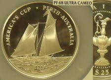 Buy Rare Samoa 1987 25 Tala NGC PF-68 UC~Americas Cup Race~5 oz Silver~Oversize~Fr/S