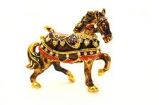 Buy Carousel Horse enamelled and Diamante encrusted hinged trinket box or Pill box