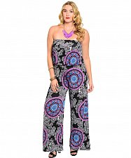 Buy PLUS SIZE 1X 2X 3X Womens Jumpsuit H.B.G.B. Paisley Wide Legs Strapless Slip On