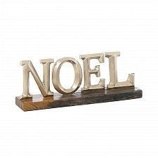 Buy *17621U - Silvery NOEL Block Letter Plaque Wood Base Decor