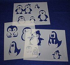 Buy Cartoon Penguin Stencils 3 Pieces-Mylar 14 Mil Painting/Crafts/Stencil/Template