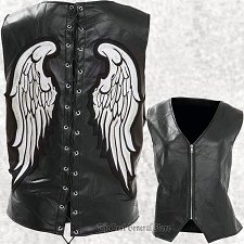 Buy Womens Ladies Black Leather Angel Wing Vest Waistcoat Laced Back Zip Front Lined