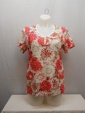 Buy PLUS SIZE 1X 2X 3X Womens Knit Top KAREN SCOTT Red Floral Short Sleeves V-Neck