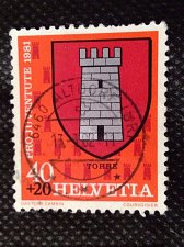 Buy Switzerland 1V USED surcharged STAMP 1981 Coat of Arms of Torre Tessin Canton