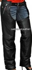 Buy Mens LADIES BIKER Black PREMIUM Leather MOTORCYCLE CHAPS Over Pants TAPERED LEG
