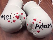 Buy Wedding White or Silver Mini Boxing Gloves Painted with Names of your choice