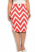 Buy SIZE 1XL 2XL 3XL Womens Pencil Skirt MOA Chevron Print Elastic Waist Knee Length