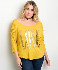 Buy Women Knit Top PLUS SIZE 3X Mustard Crochet Lace All You Need Is LOVE
