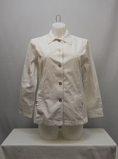 Buy Womens Jean Jacket SIZE L TUDOR COURT Solid White Long Sleeve Button Front
