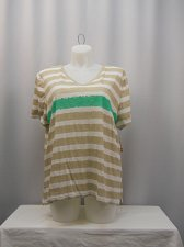 Buy Womens Knit Top Plus Size 3X STYLE&CO Multi Colored Striped Short Sleeve V-Neck