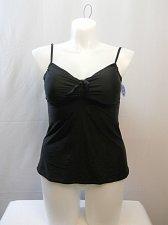 Buy SIZE 14 Women Tankini Swim Top SHORE CLUB Solid Black Tie-Front Underwire