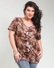 Buy PLUS SIZE 2X Womens Knit Top TAKONI Brown Geometric Short Sleeve Ruffled V-Neck