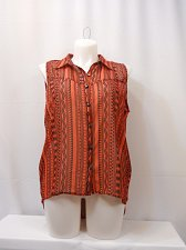 Buy Womens Top ROUGE COLLECTION Plus Size 1X Geometric Hi-Lo Hem Cut Out Sleeveless